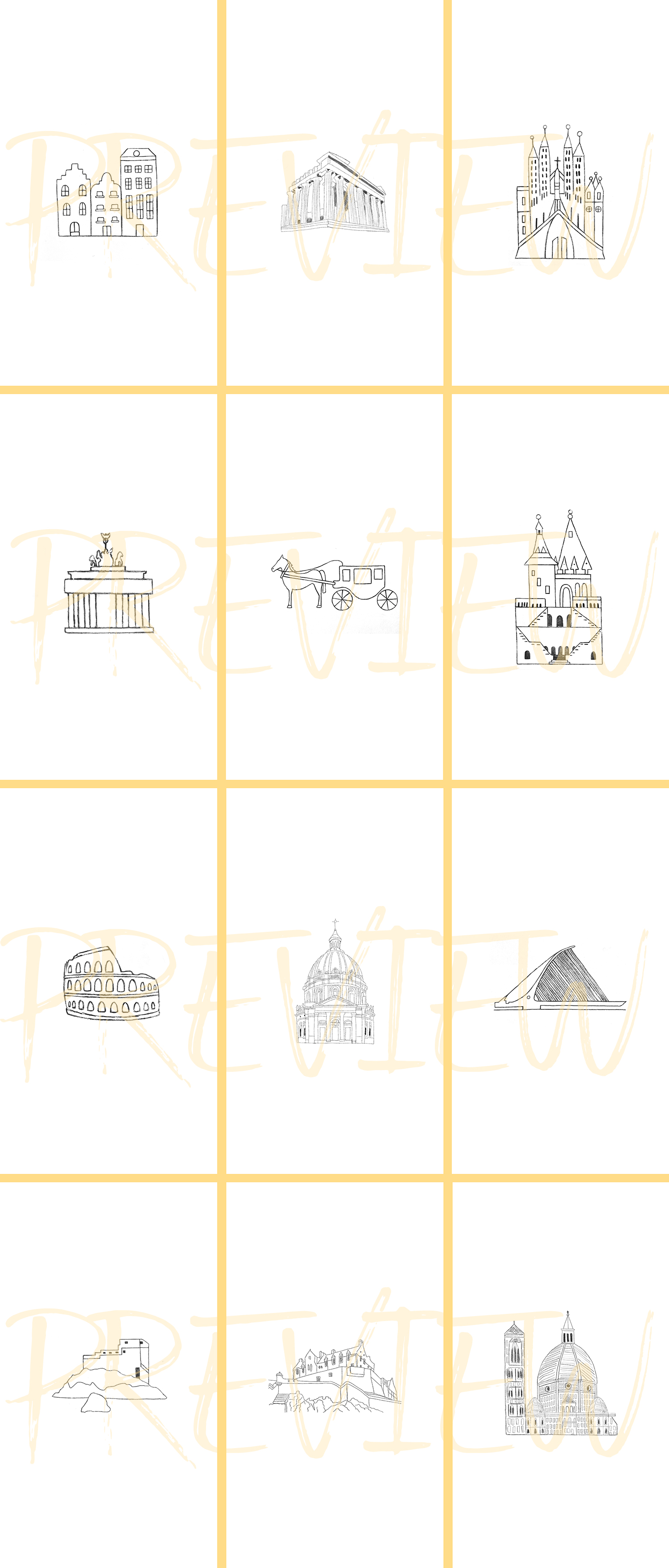 Instagram Story Travel Icons, 27 Hand Drawn City Icons example image 3