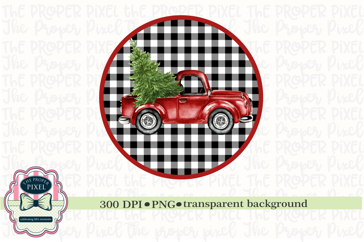 Red Vintage Truck with Christmas Tree Sublimation Printable example image 1