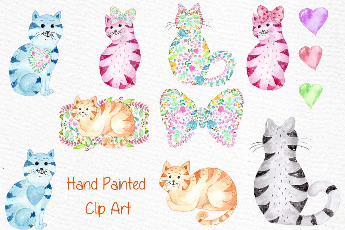 Cute watercolor cats clipart example image 3