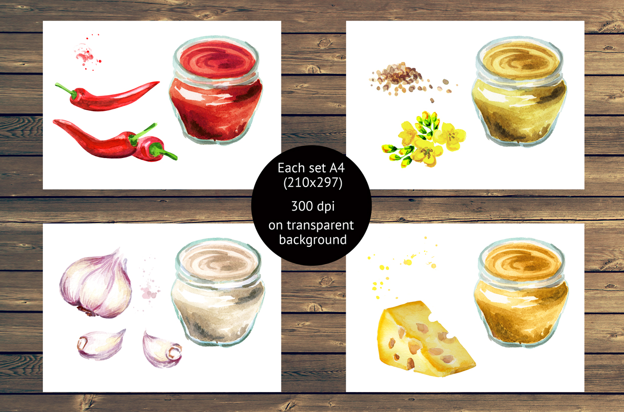 Sauce collection. Watercolor set example image 3
