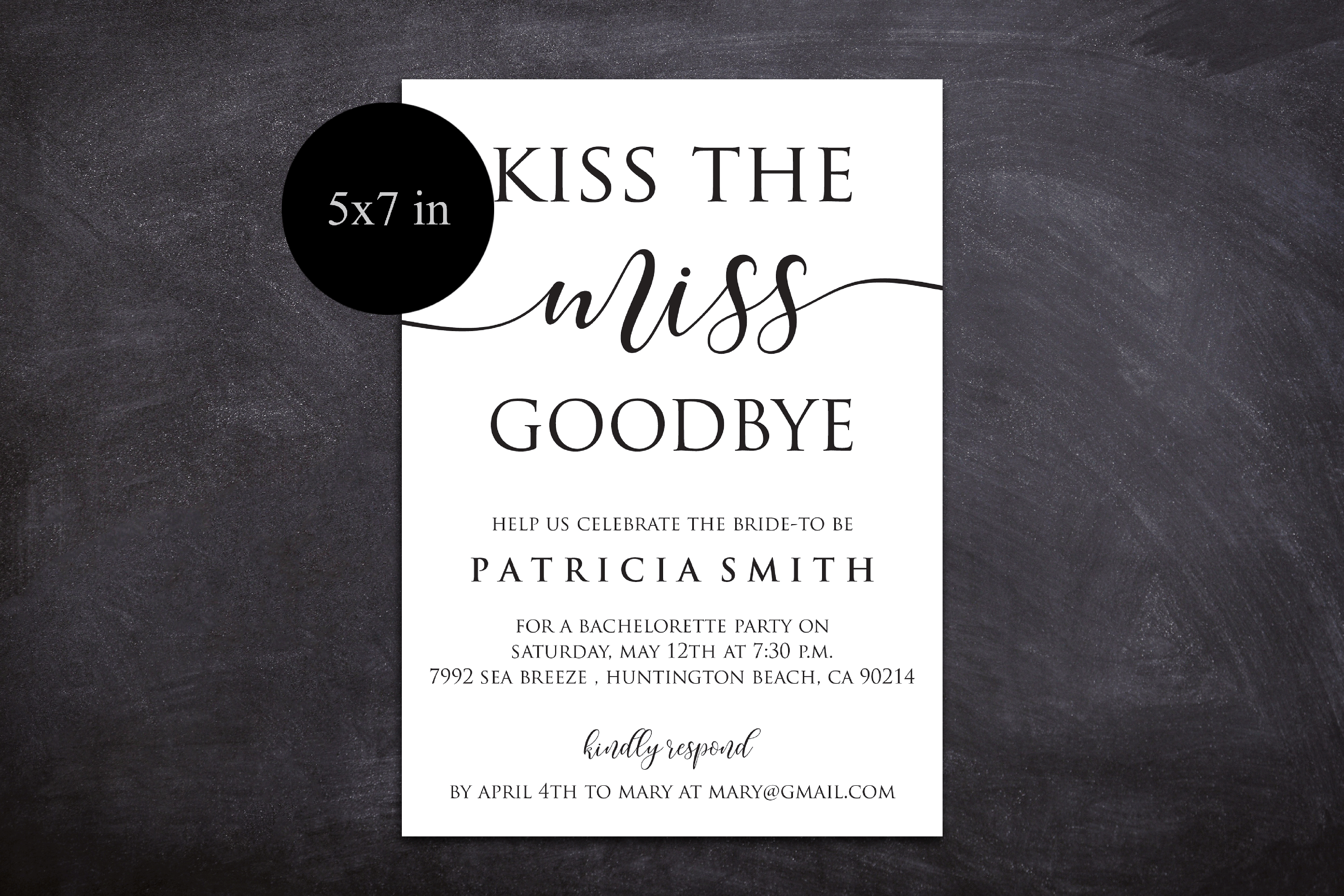 DIY Kiss The Miss Goodbye Bachelorette Party Invitation example image 2