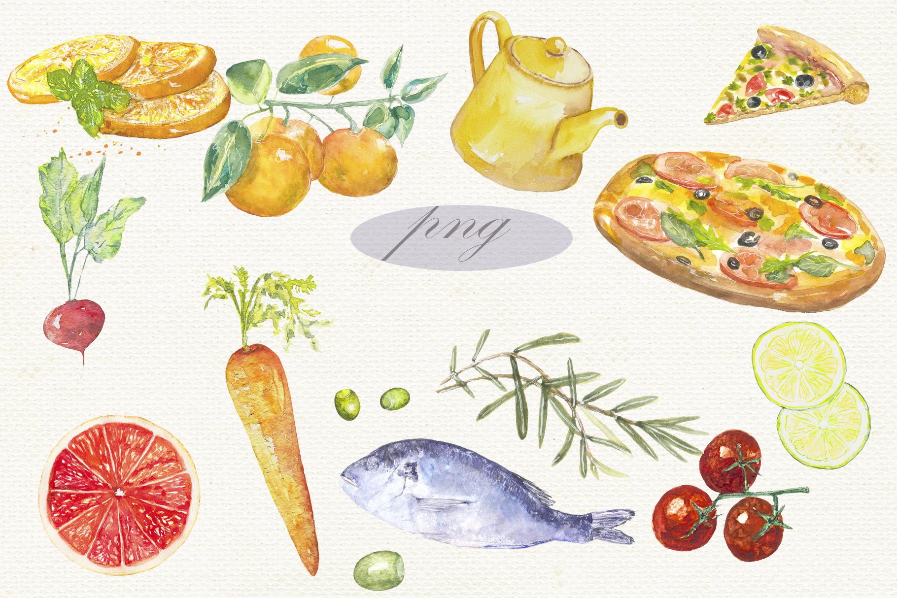 Fruit vegetables food watercolor example image 6