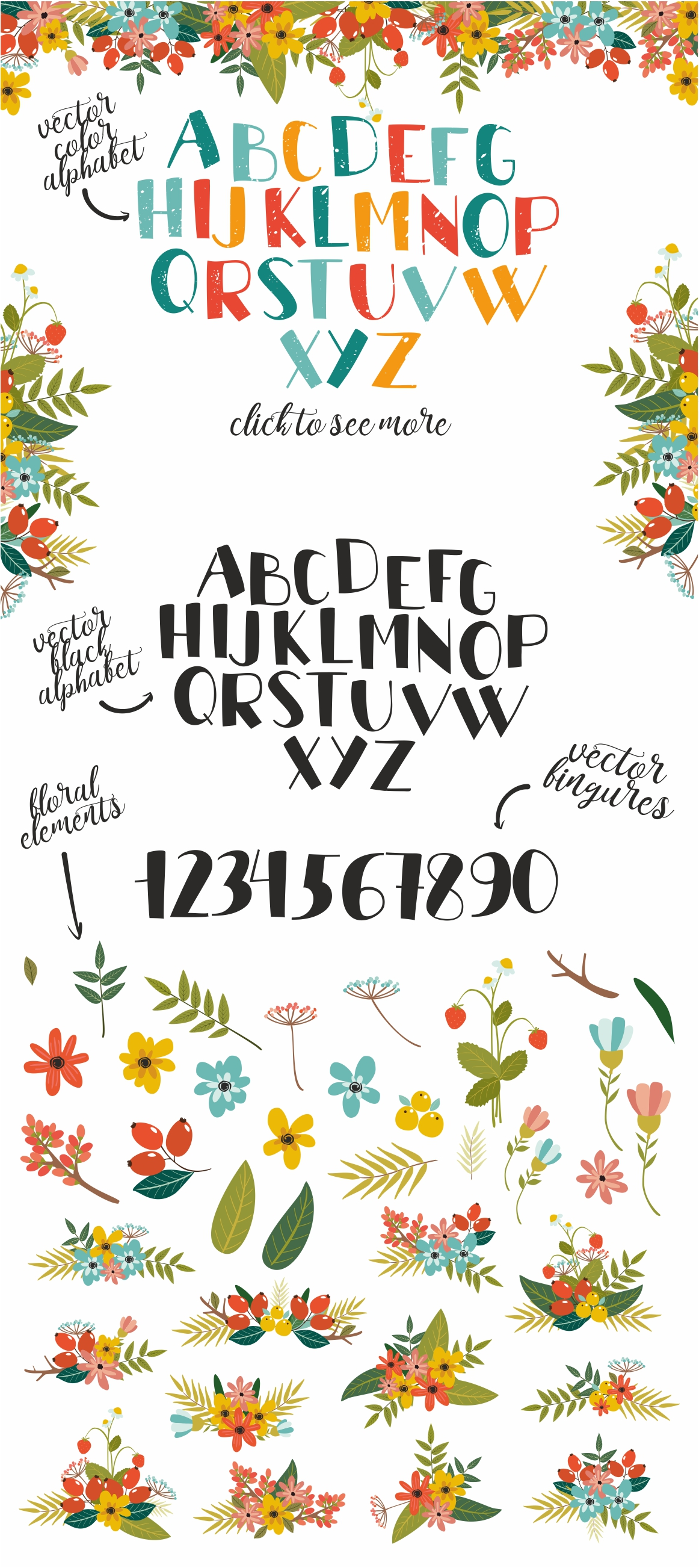 Vectot alphabet and floral elements example image 4