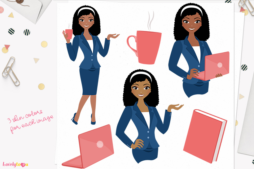 Woman business character clip art L108 Nelly example image 1