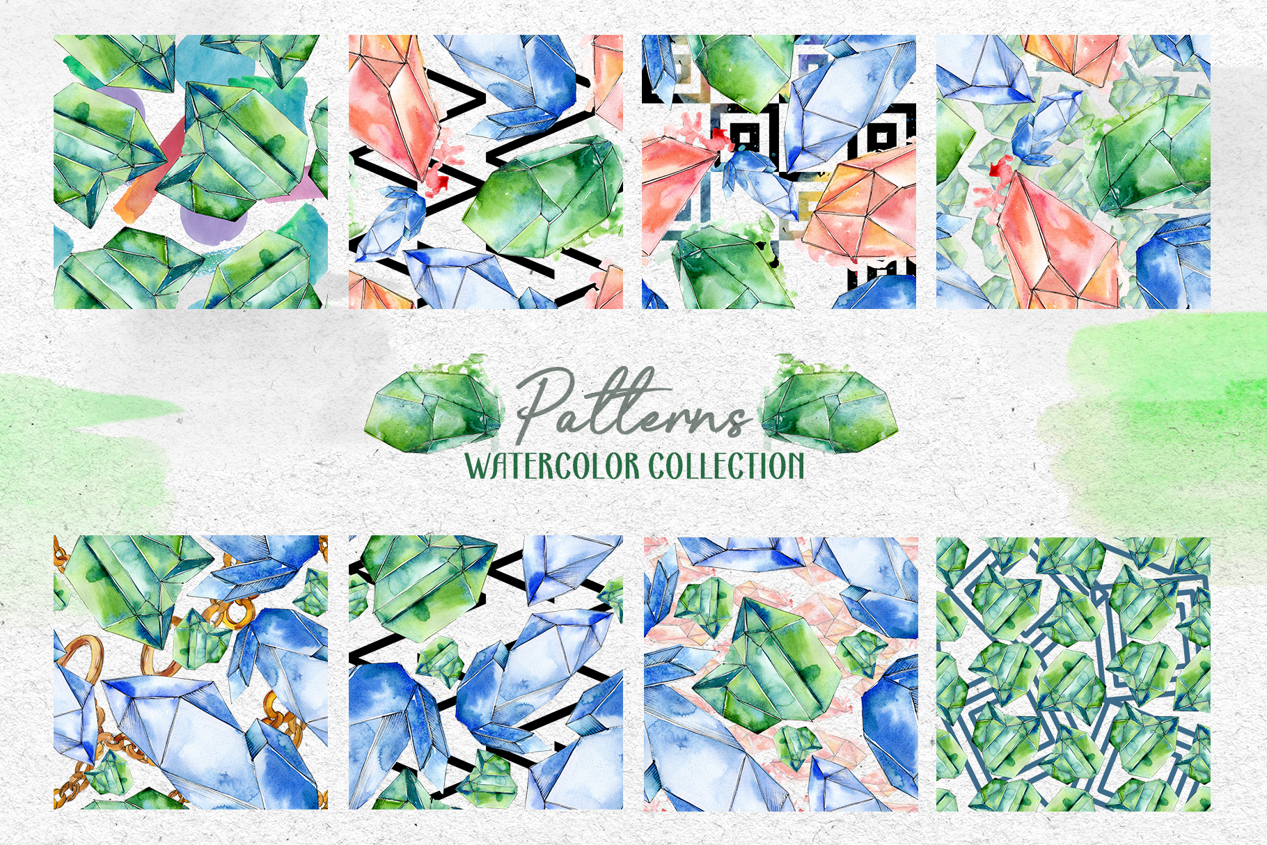 Crystals Corundum red, blue and green Watercolor png example image 4