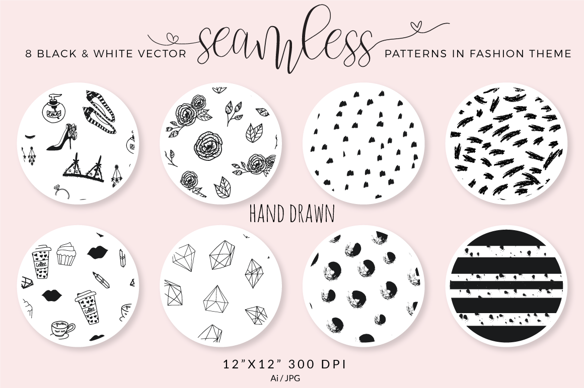 Seamless vector patterns - pack of 8 example image 2