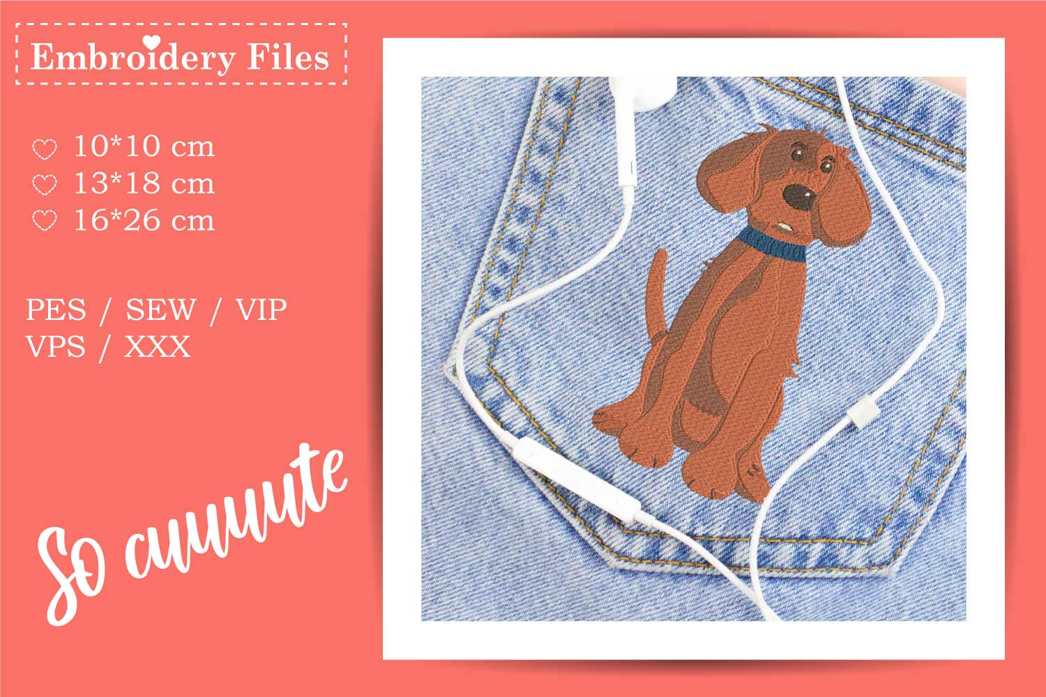 Cute big Dog - Embroidery File for Beginners example image 2