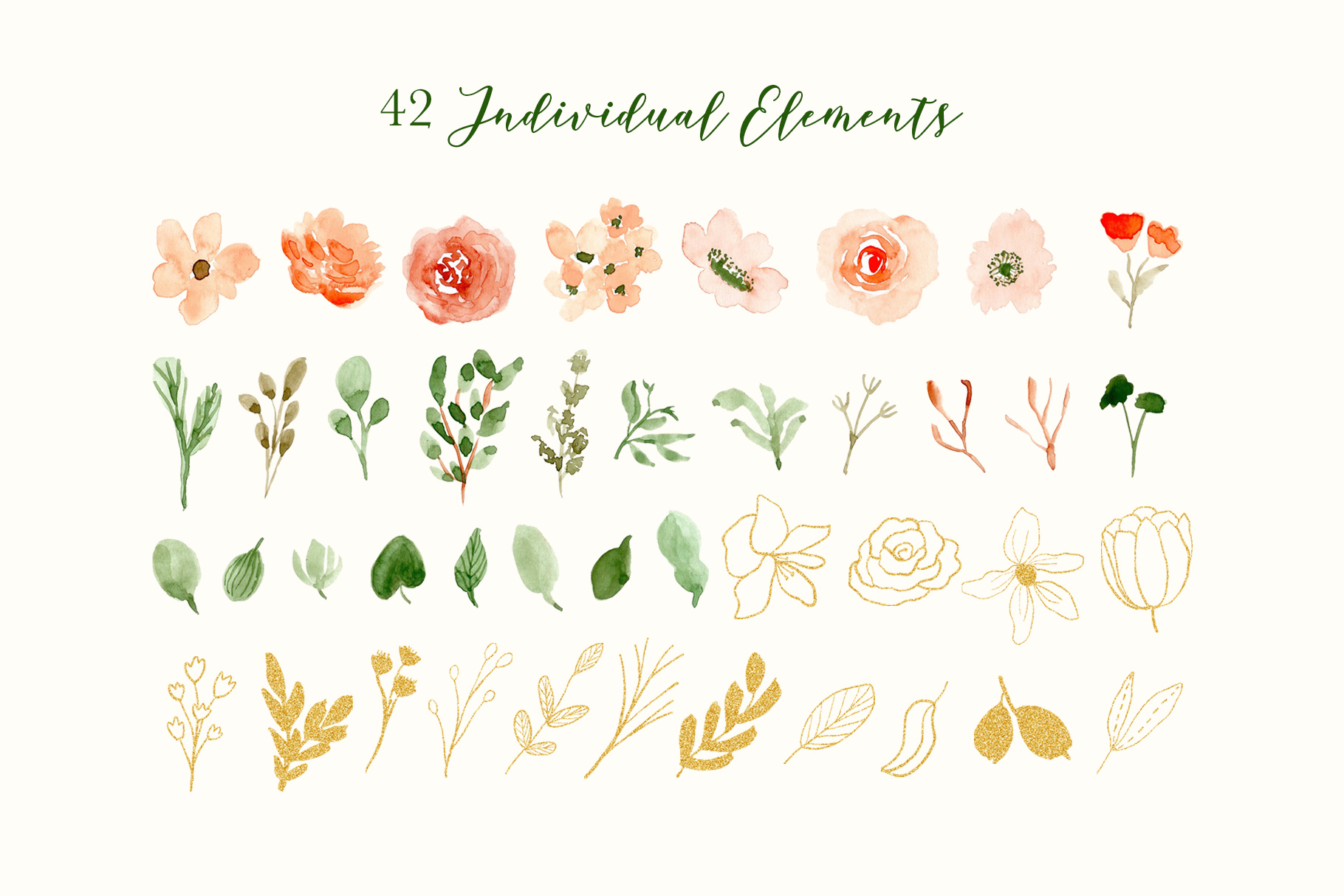 Classy Florals - Watercolor Clipart example image 5
