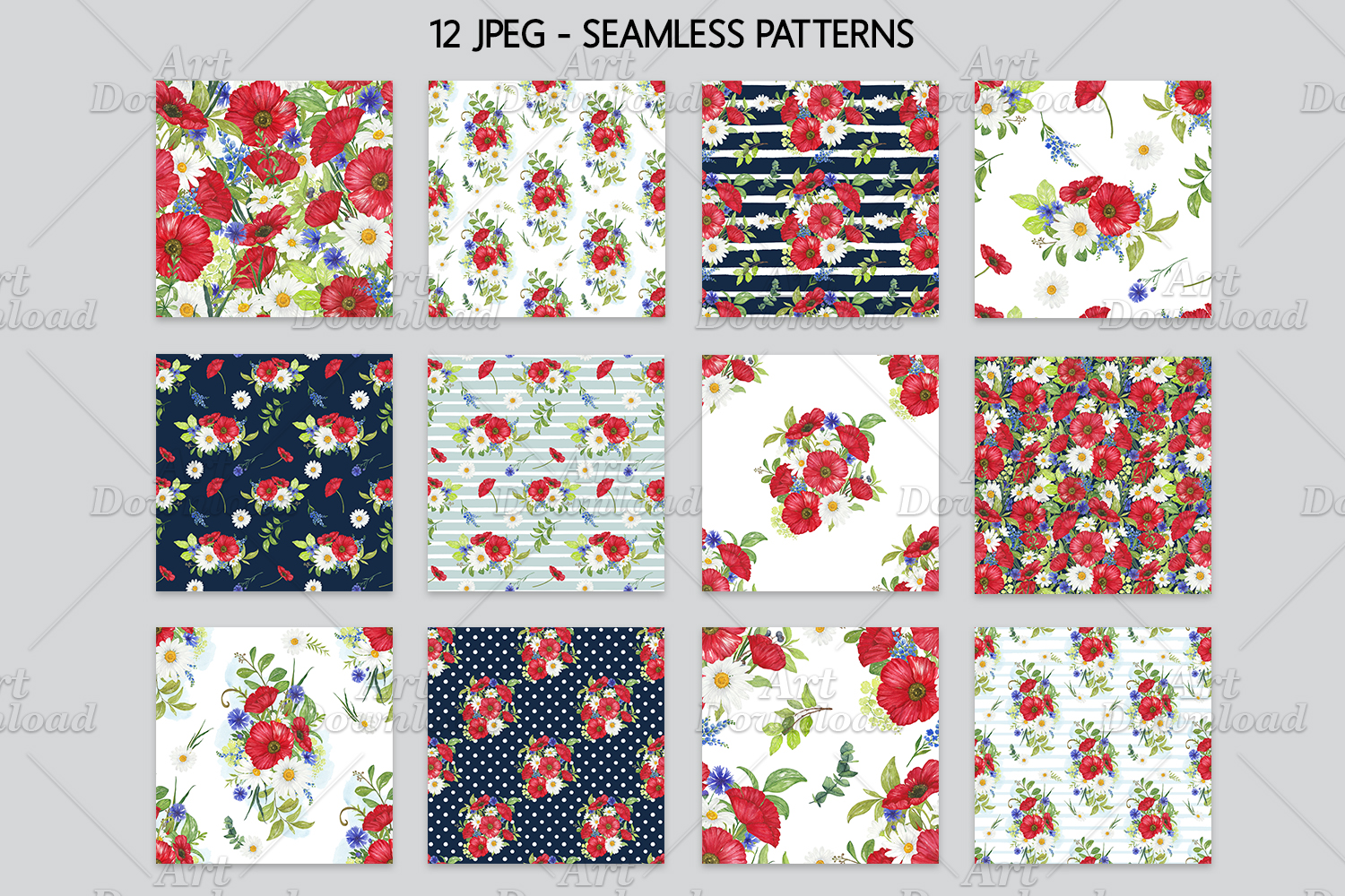 Poppies Digital Papers Floral Seamless Patterns example image 6