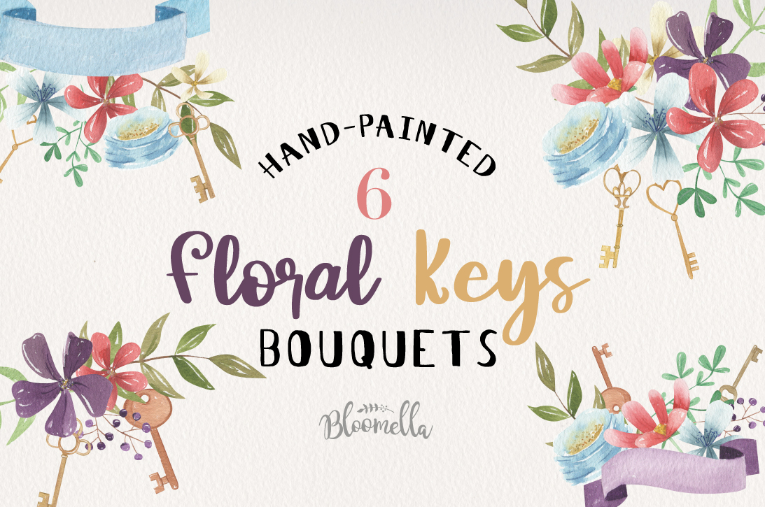 Floral Keys Bouquets Flowers Watercolor Flowers Love Heart example image 1