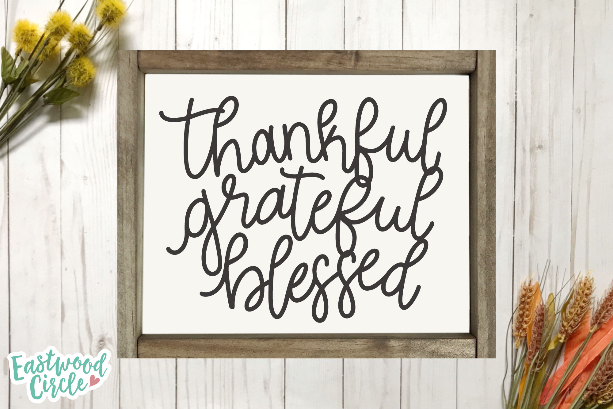 Thankful Grateful Blessed - Hand Lettered Fall SVG File example image 3