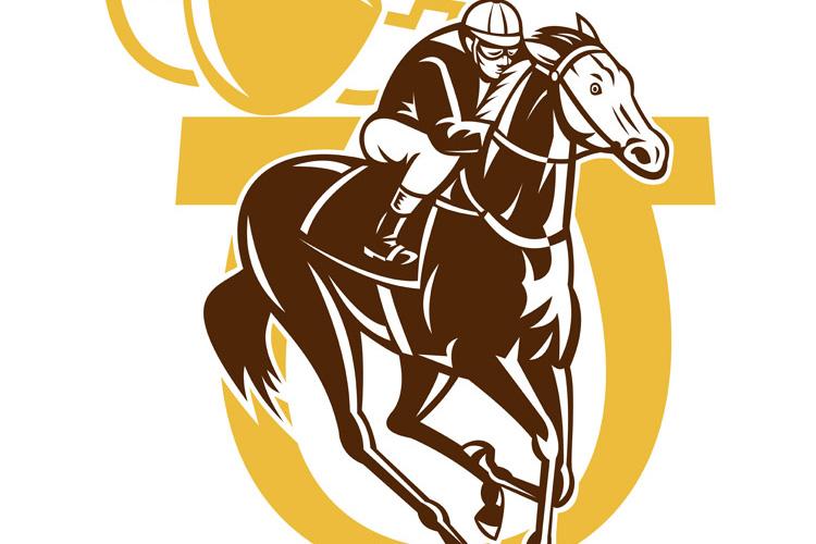 horse race jockey racing horseshoe cup example image 1