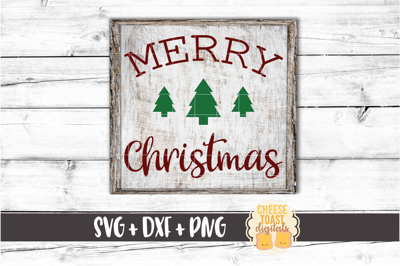 Merry Christmas - Christmas Tree Sign SVG PNG DXF Cut Files example image 1