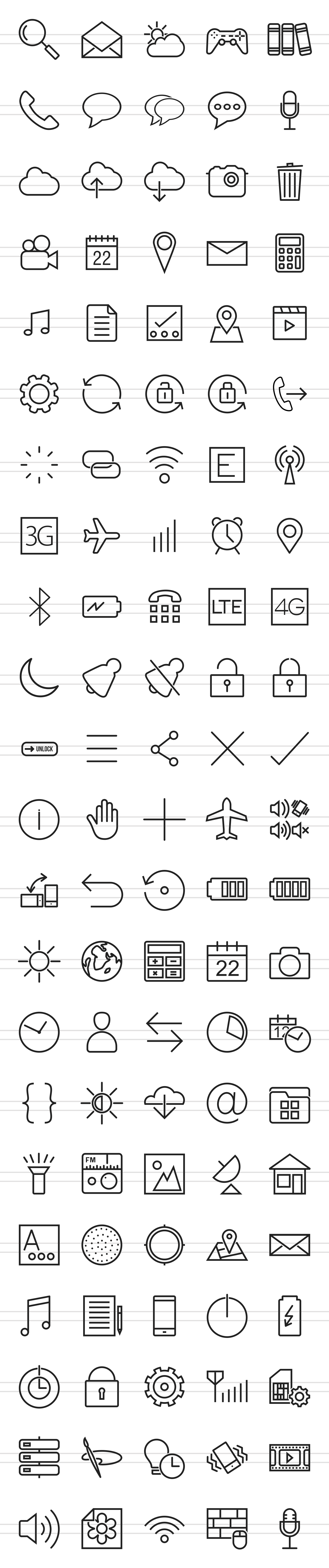 110 Mobile Apps Line Icons example image 2