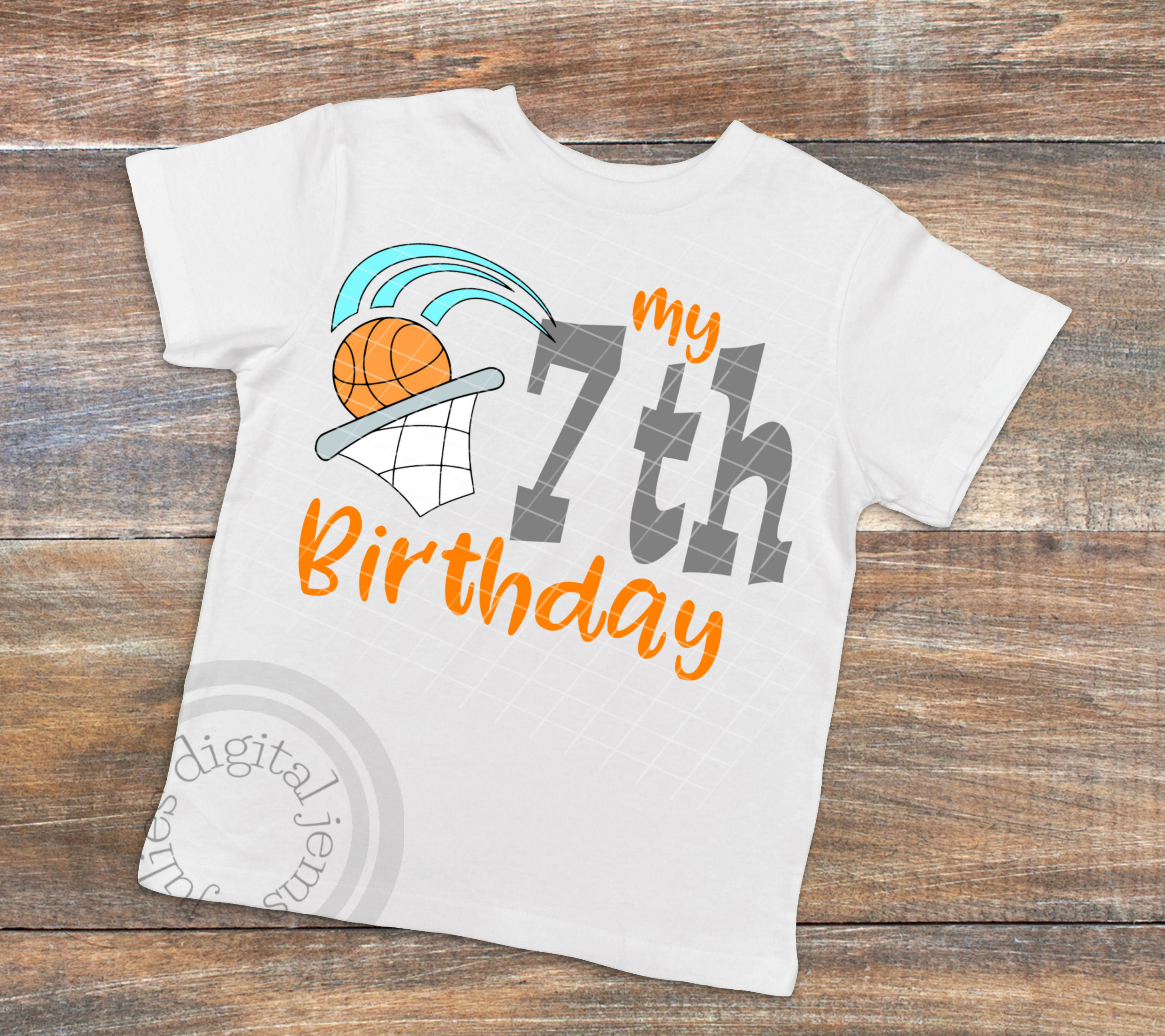 7th Birthday Shirt Boy Svg Basketball Example Image 2