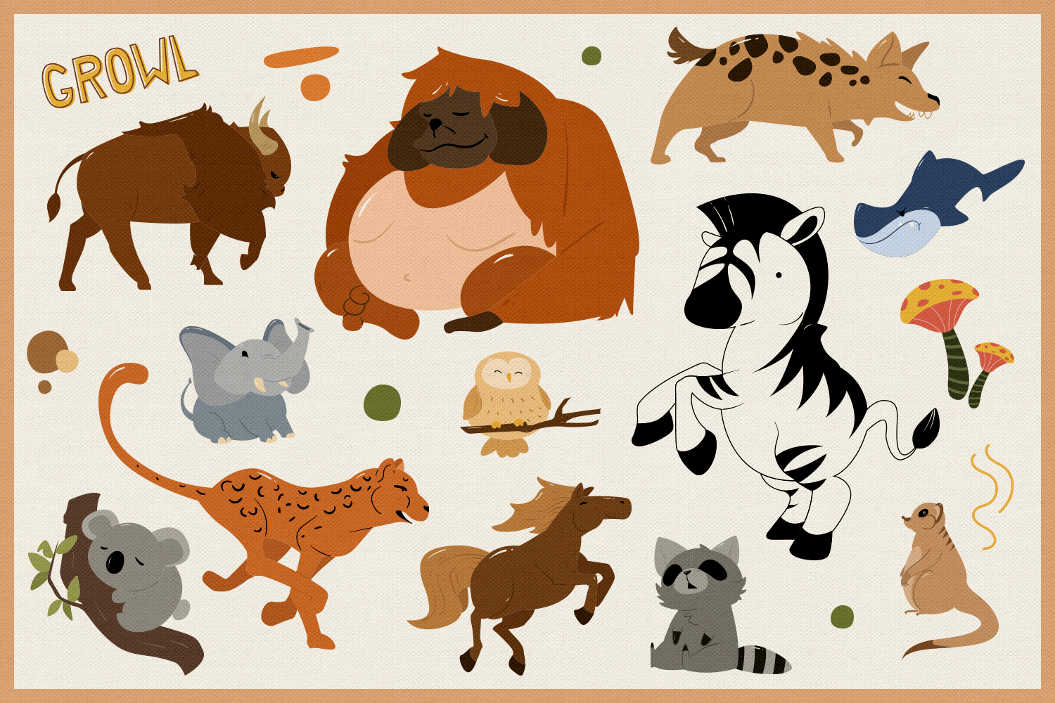 Wild Animals 80 Vector Clipart & Seamless Patterns example image 4