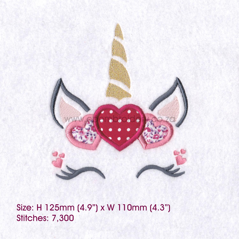 Hearts Unicorn Head Applique Embroidery Design example image 6
