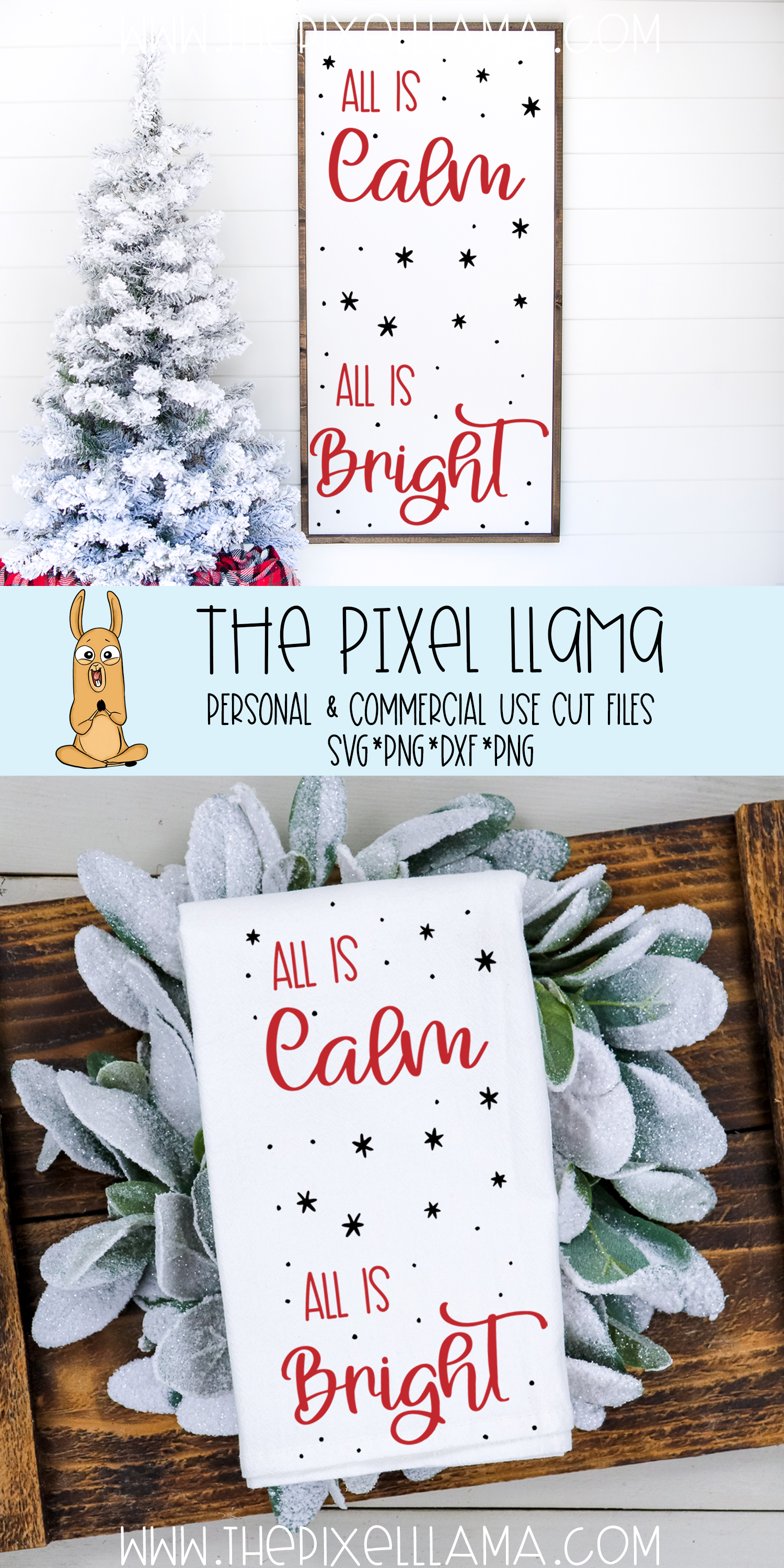 All Is Calm All Is Bright Christmas Sign SVG example image 3