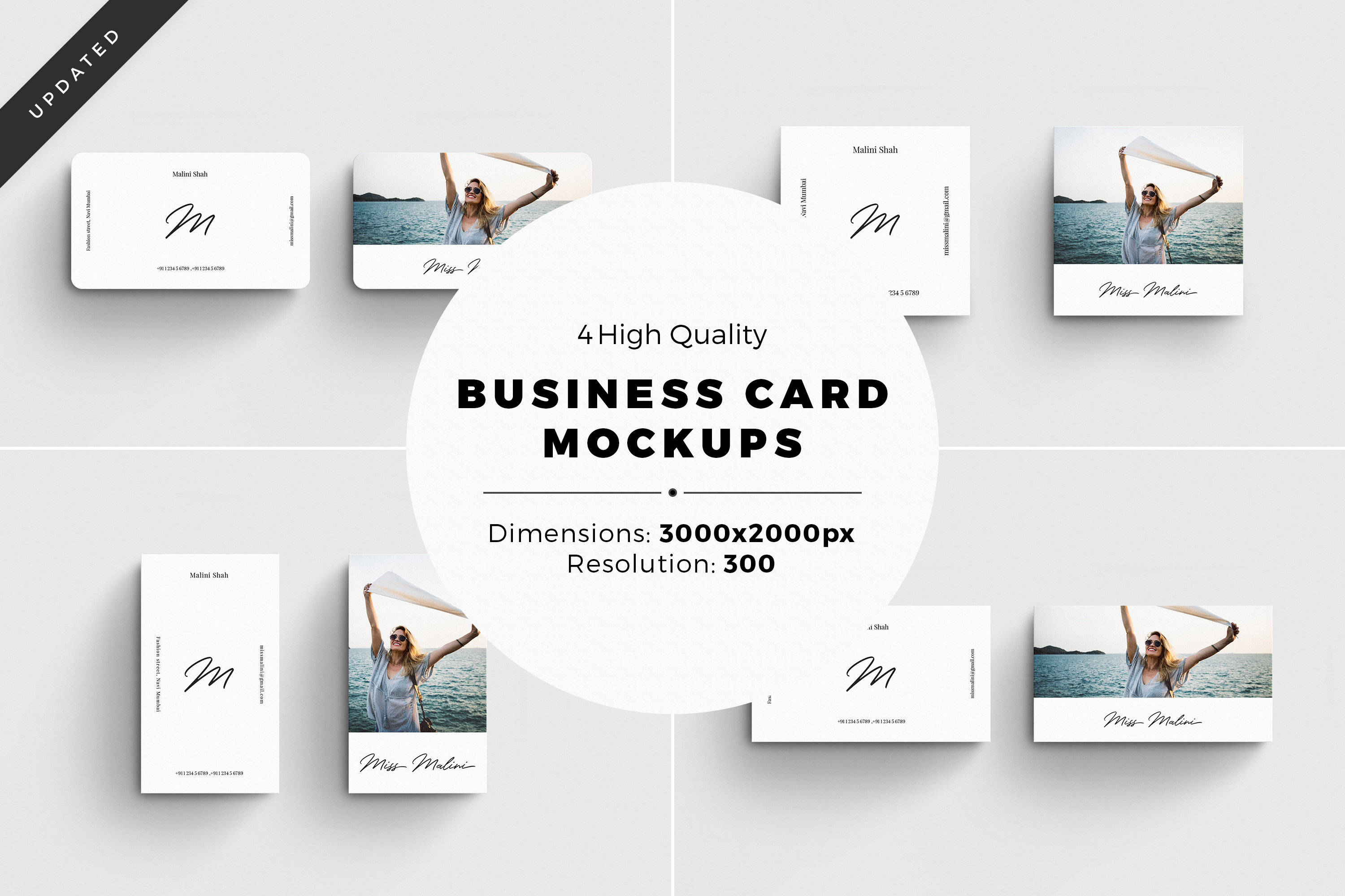 4 Business Card MockUps example image 1