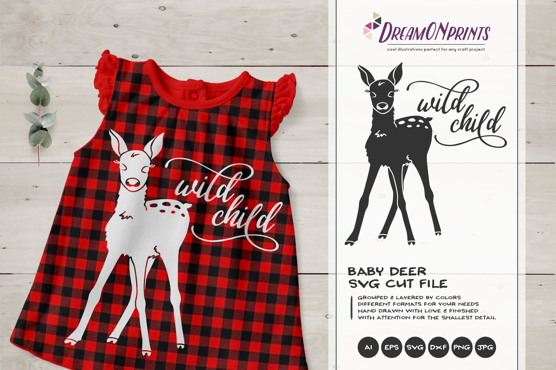 Wild Child SVG - Deer, Fawn SVG example image 1