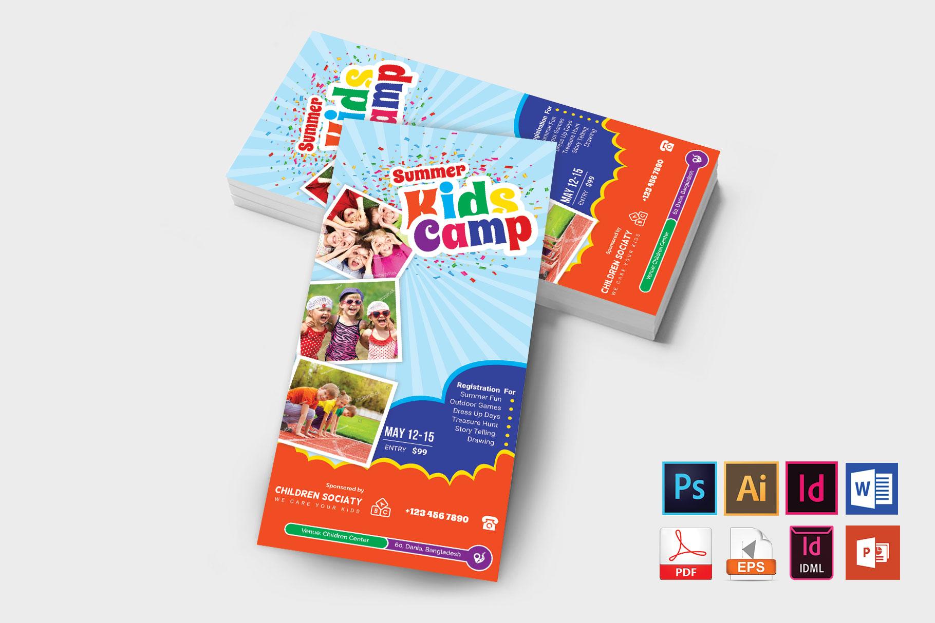 Rack Card | Kids Summer Camp DL Flyer Vol-3 example image 2