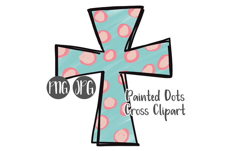 Hand Drawn Easter Cross Clipart - Painted Dots example image 1