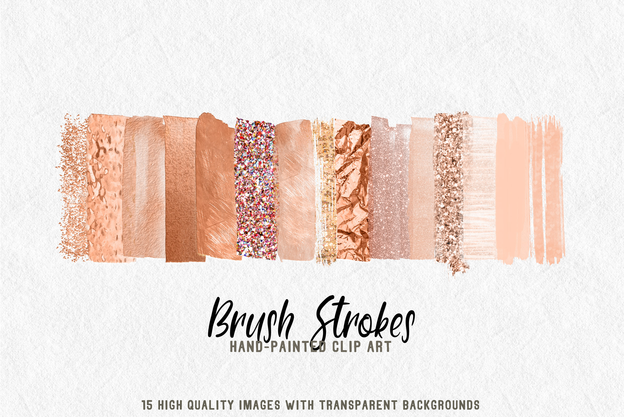 15 brush strokes clipart rose gold example image 1