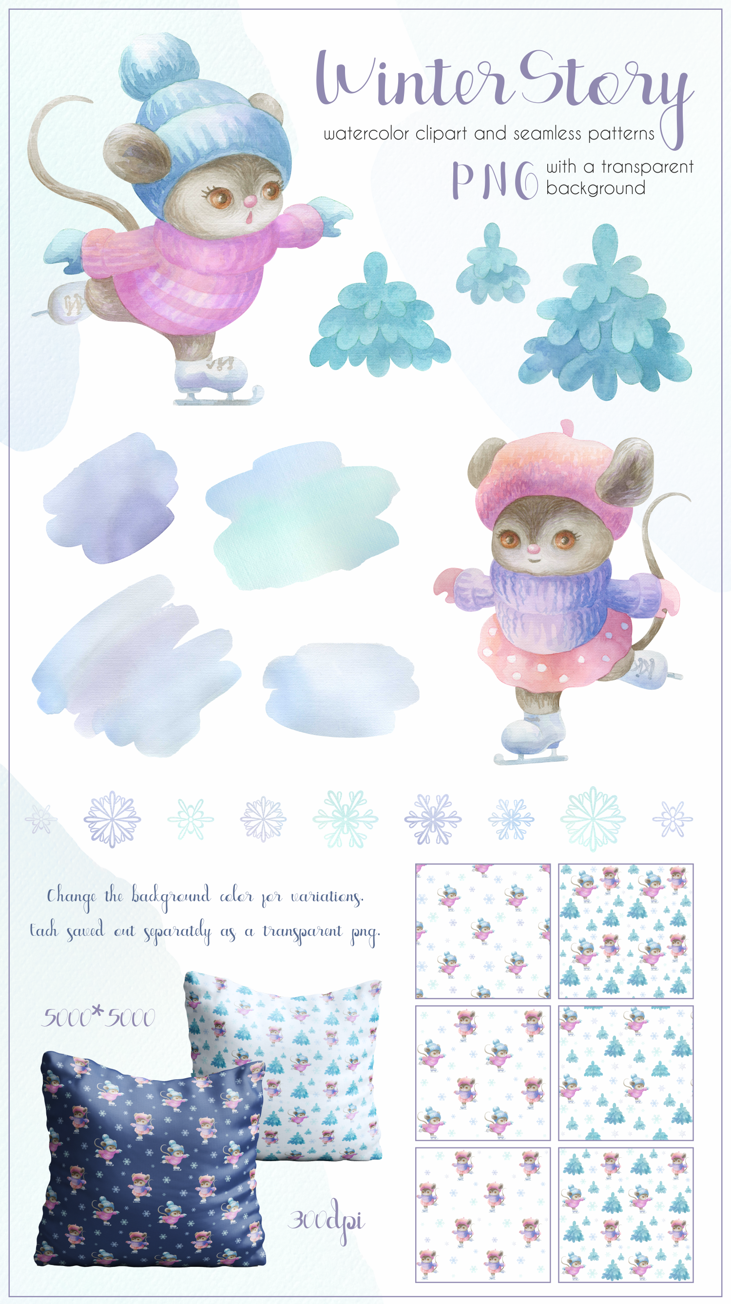 Winter story. Cute little mice. Watercolor set example image 5