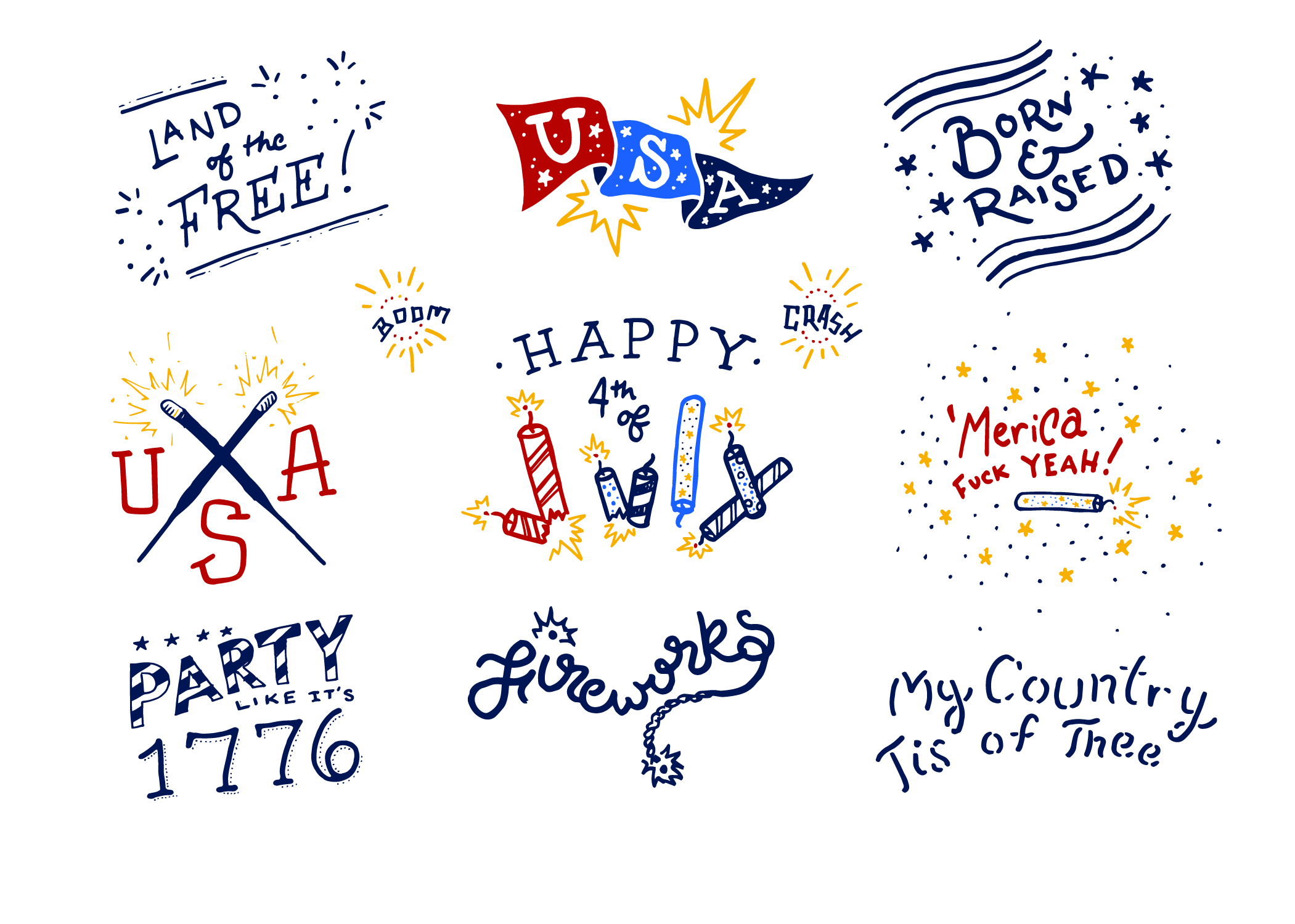 4th of July Americana Lettering Pack example image 3