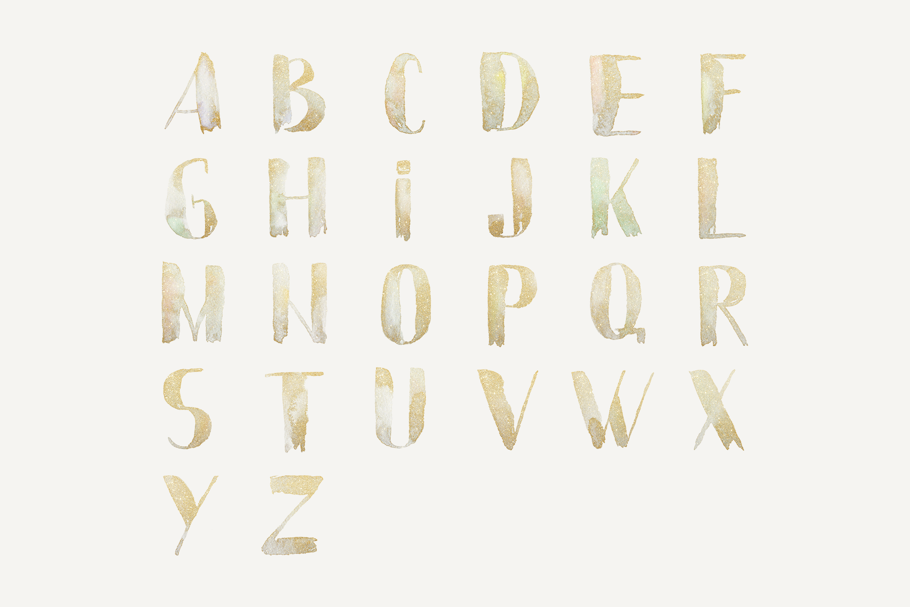 Gold watercolor letters, hand painted glitter alphabet example image 4