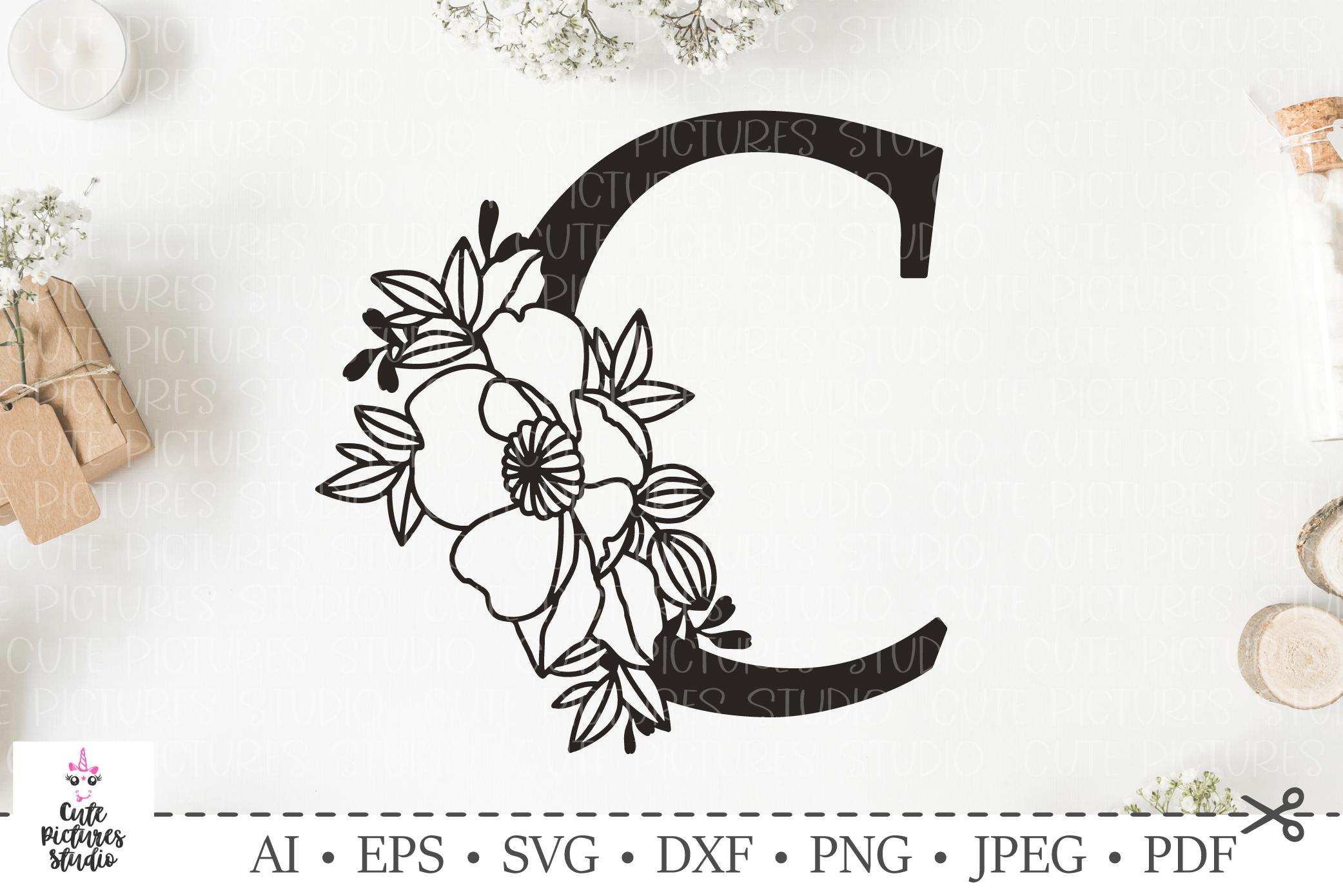 Botanical alphabet svg. Floral letter svg. Bundle SVG, DXF example image 1