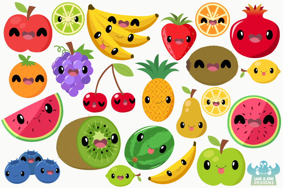 Cute Fruit Clipart, Instant Download Vector Art example image 2
