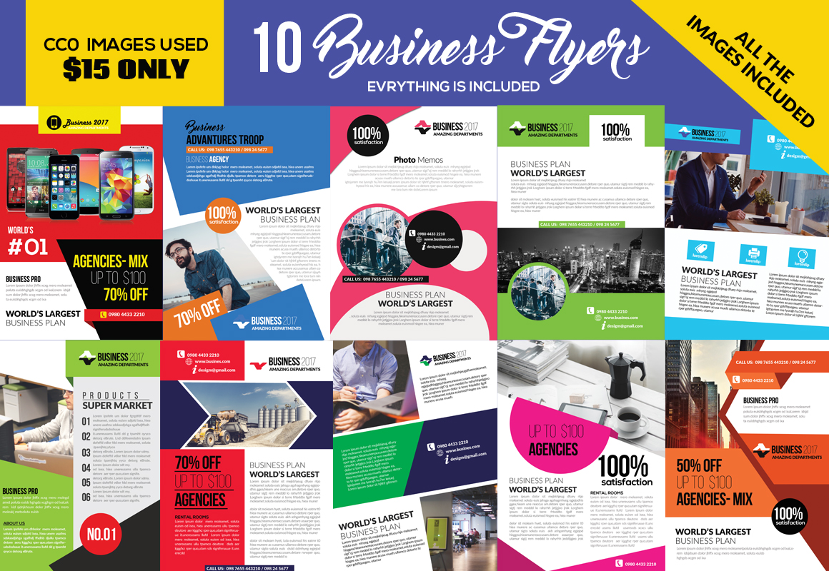 10 Corporate Psd Flyer Templates Bundle example image 1