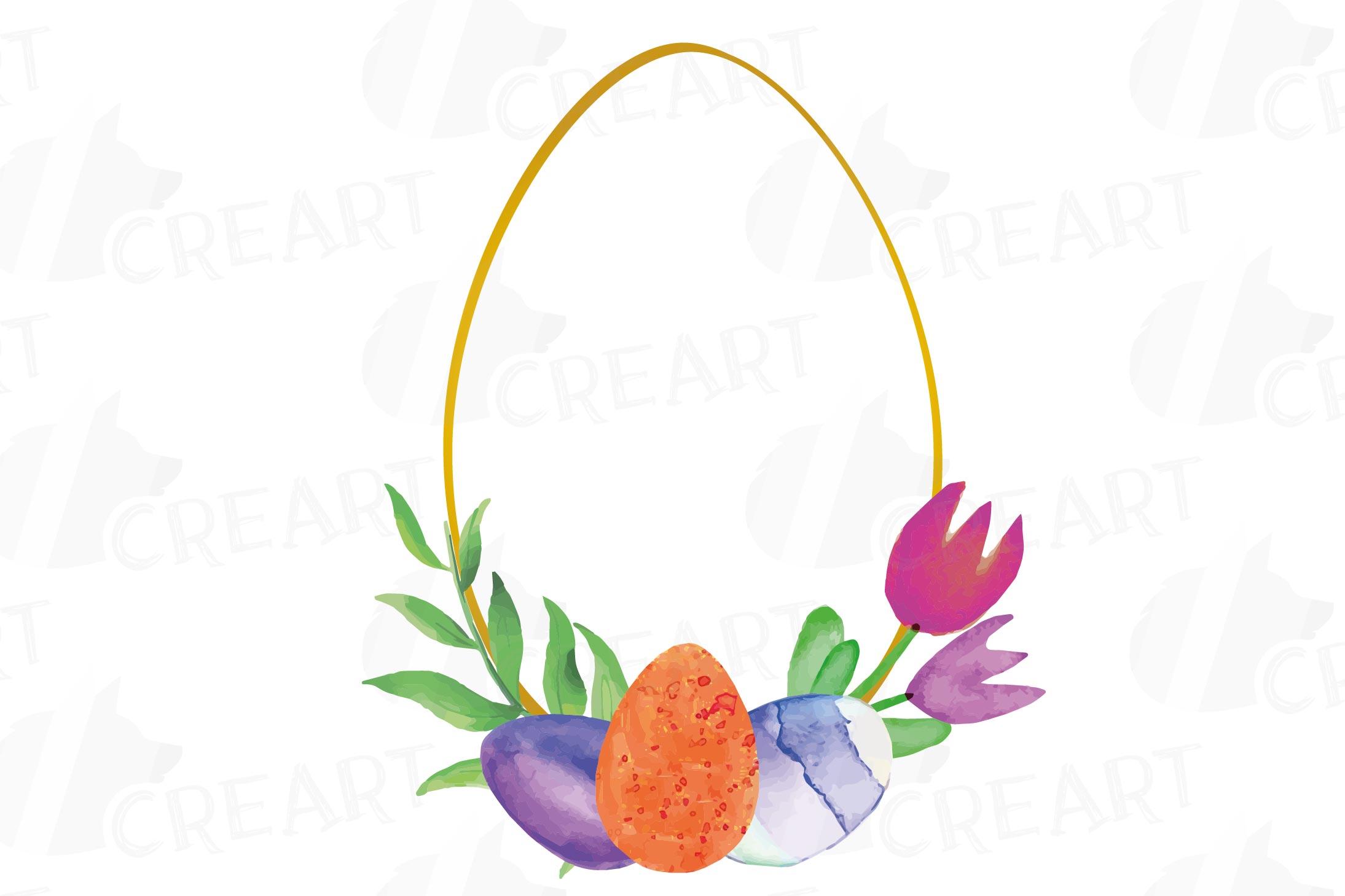 Easter golden watercolor floral frames, floral frames example image 12