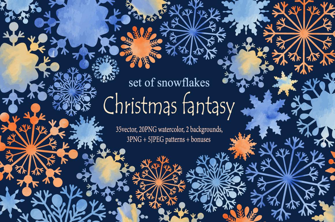 Christmas fantasy. Set snowflakes. example image 1
