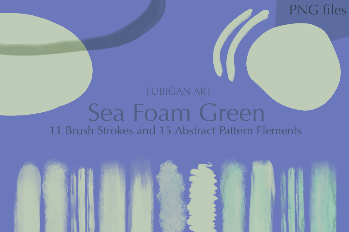 26 Sea Foam Green Brush Strokes and Abstract Pattern Element example image 6
