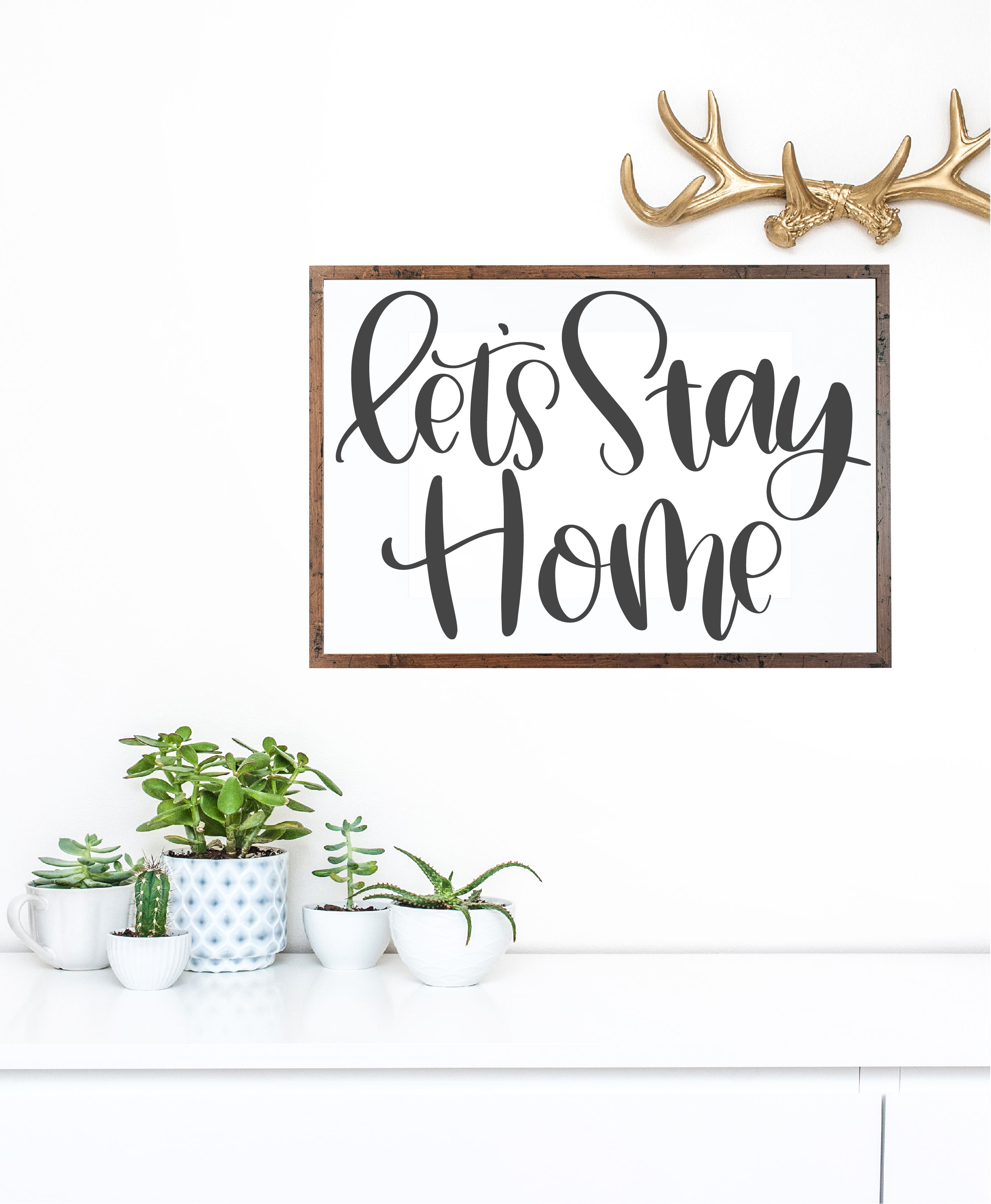 Let's Stay Home - Hand Lettered SVG example image 1