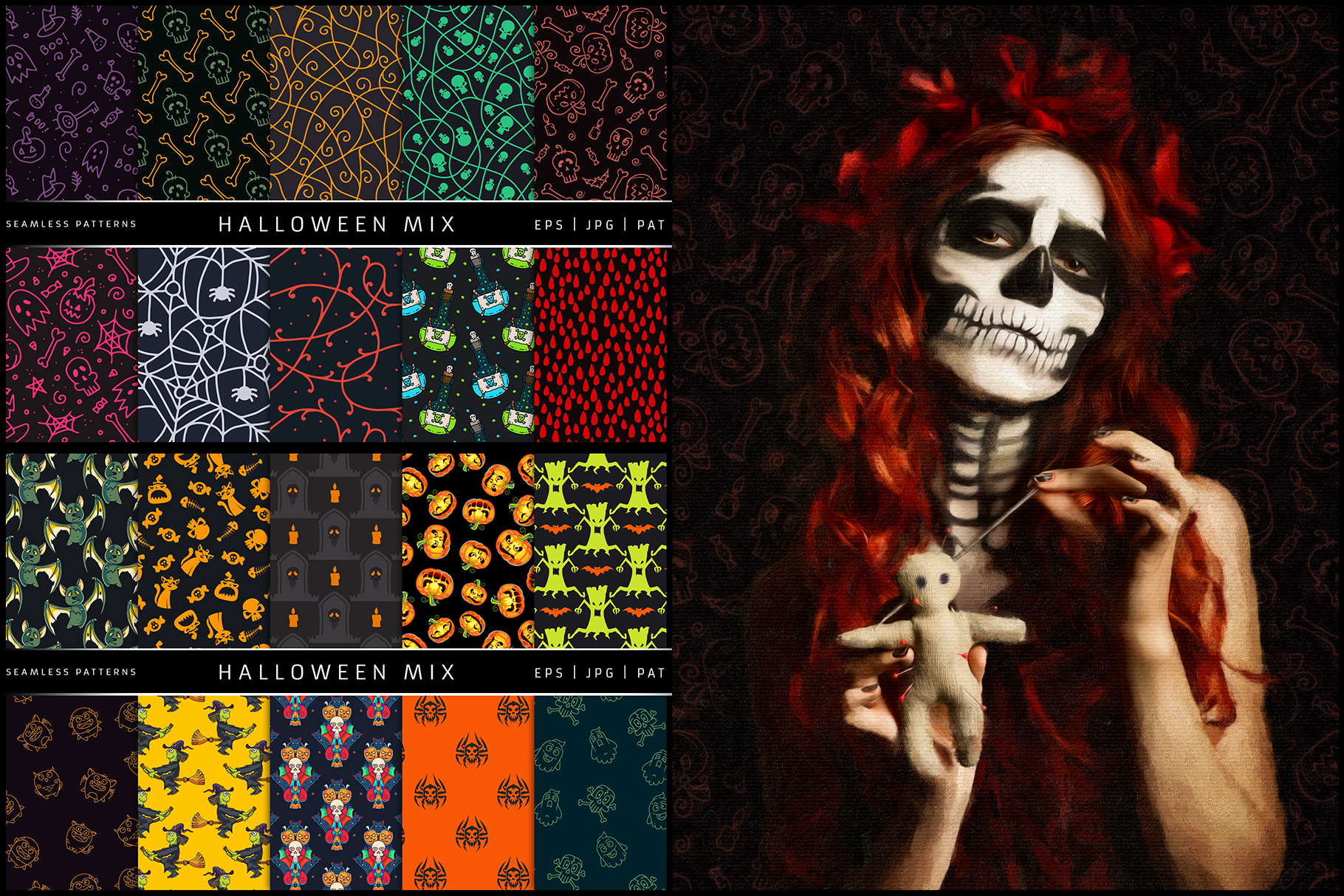 100 Seamless Patterns Vol.3 Halloween example image 2