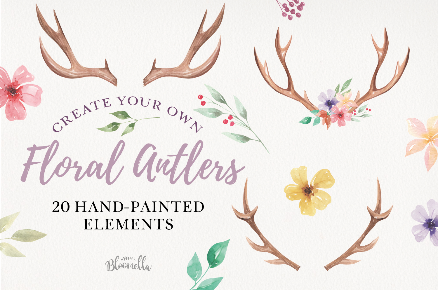 Create Your Own Watercolor Elements Flowers Antlers Florals example image 1