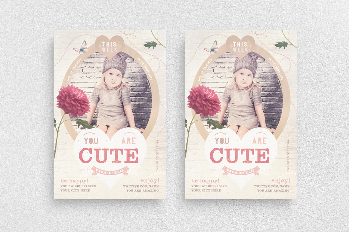 You Are Cute Flyer Template example image 1