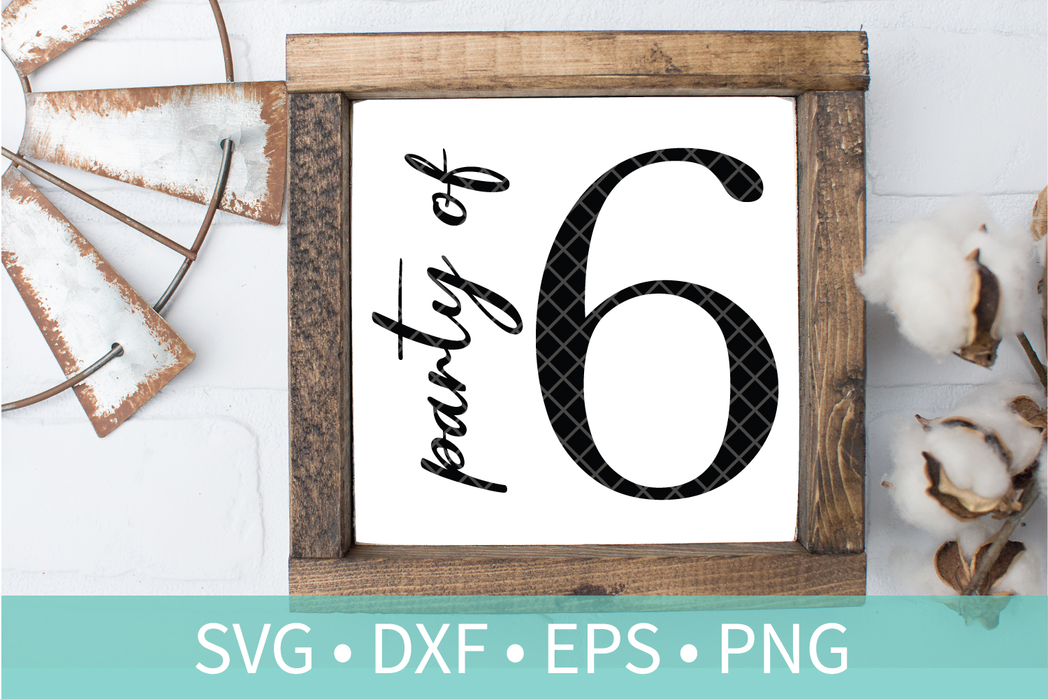 Party of 6 Family Sign SVG DXF EPS PNG Clipart Cut File example image 1