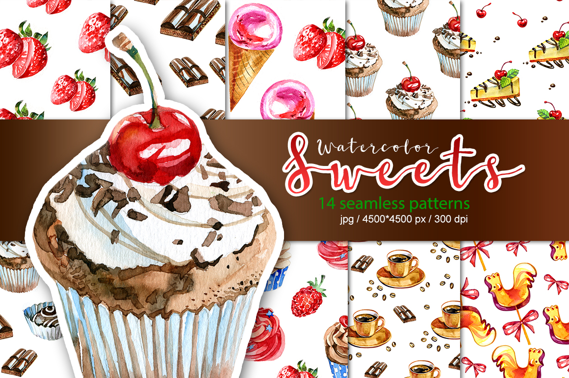 Watercolor sweets seamless patterns. example image 1