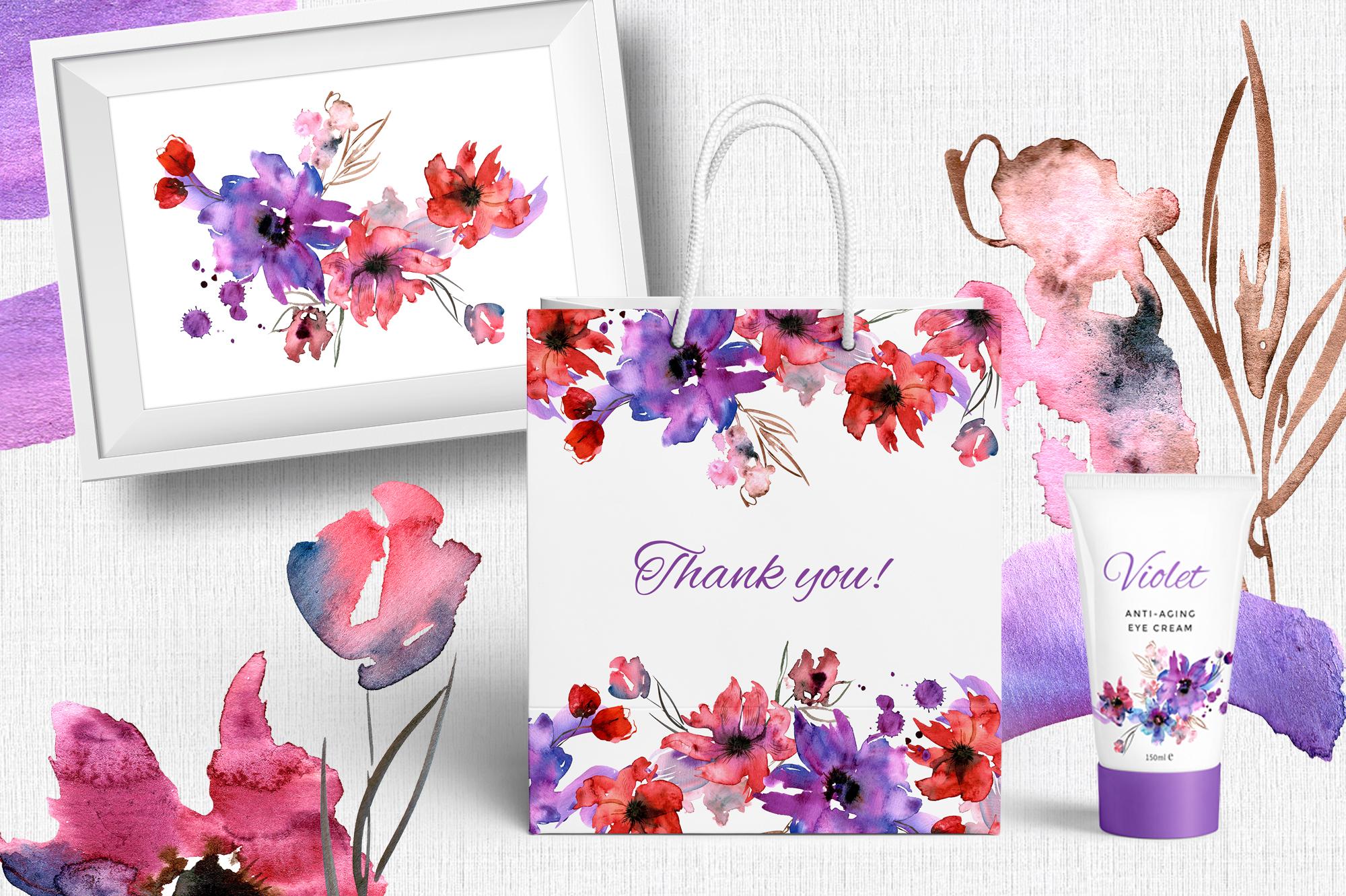Watercolor Purple Flowers example image 9
