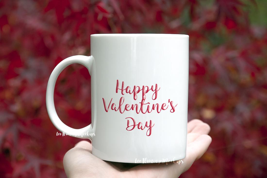 White coffee mug mock up Japanese maple tree background nature red natural example image 2