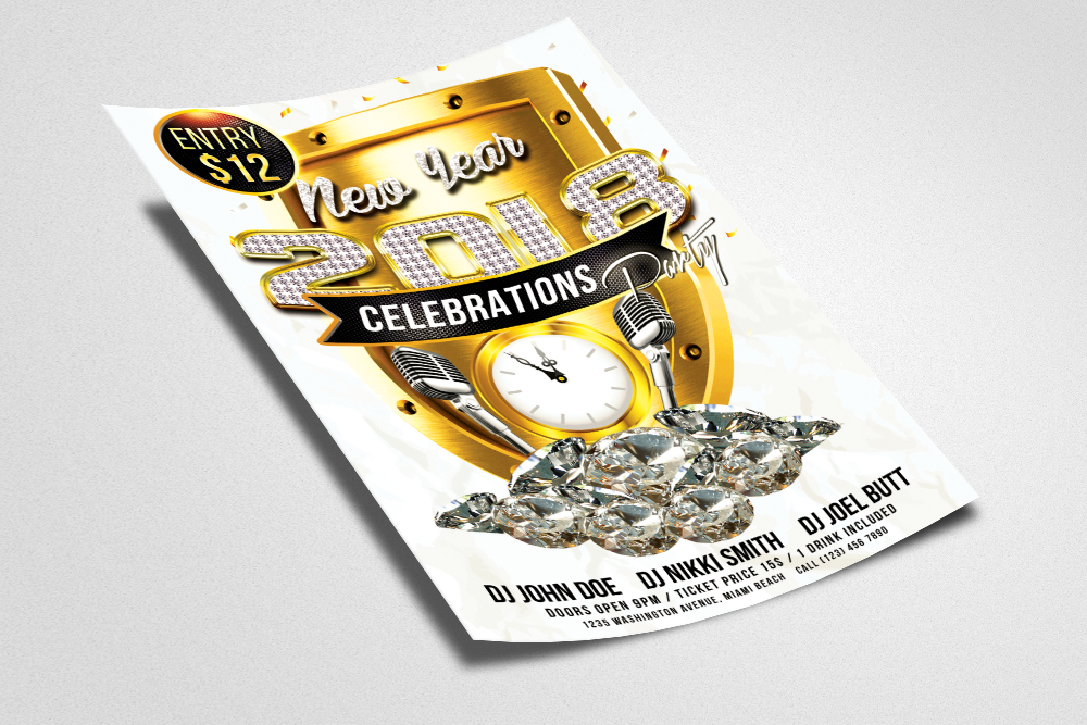 Happy New Year Flyer Psd Templates example image 3