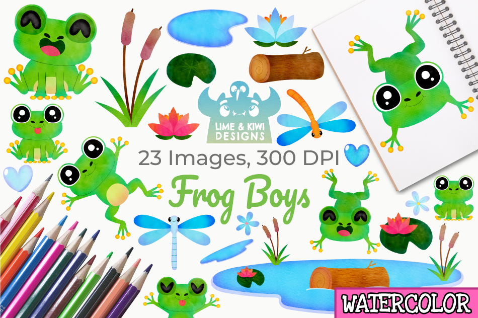 Frog Boys Watercolor Clipart, Instant Download Vector Art example image 1