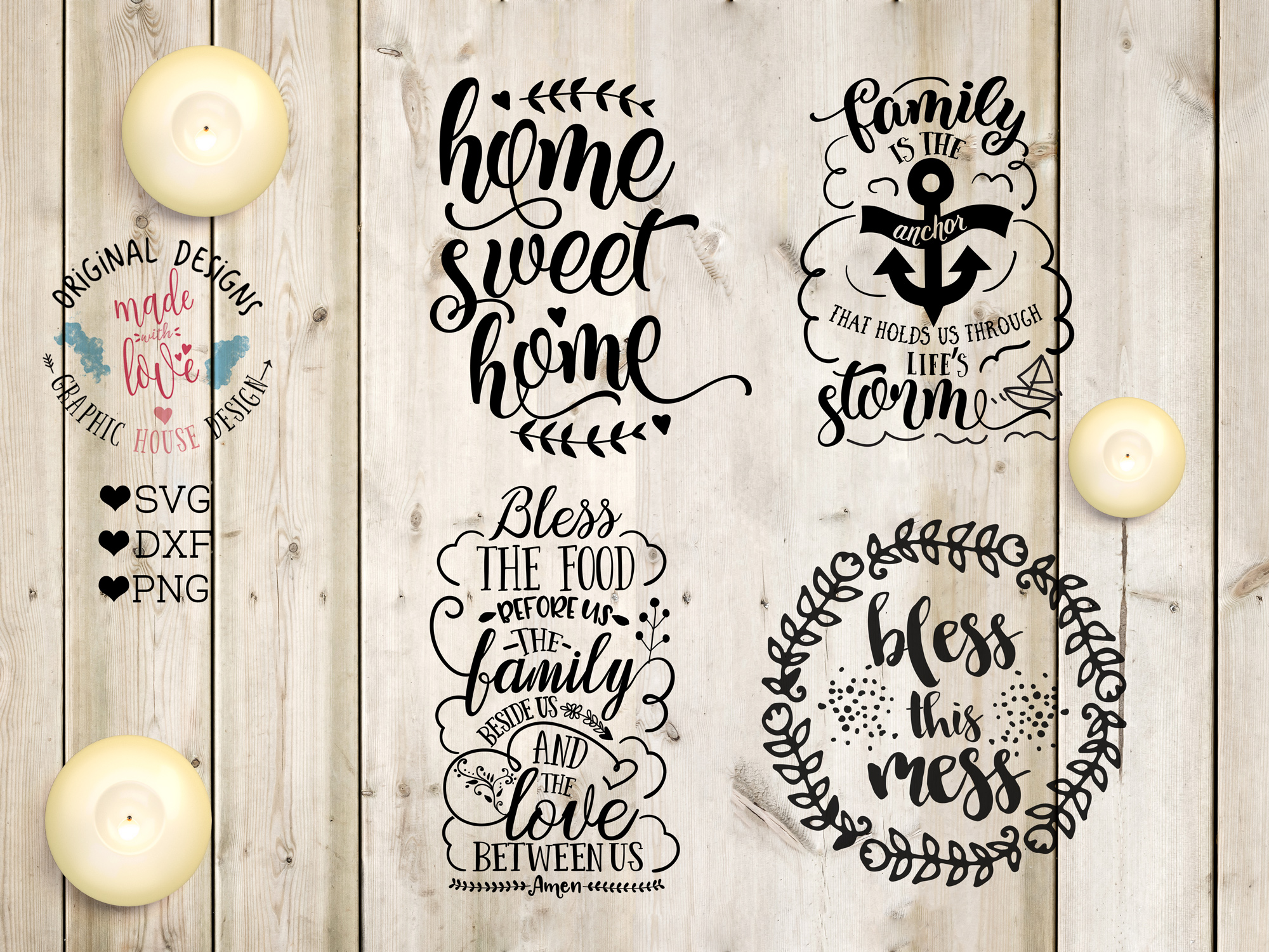 Family/Home Cutting Files Bundle SVG, DXF, PNG example image 2