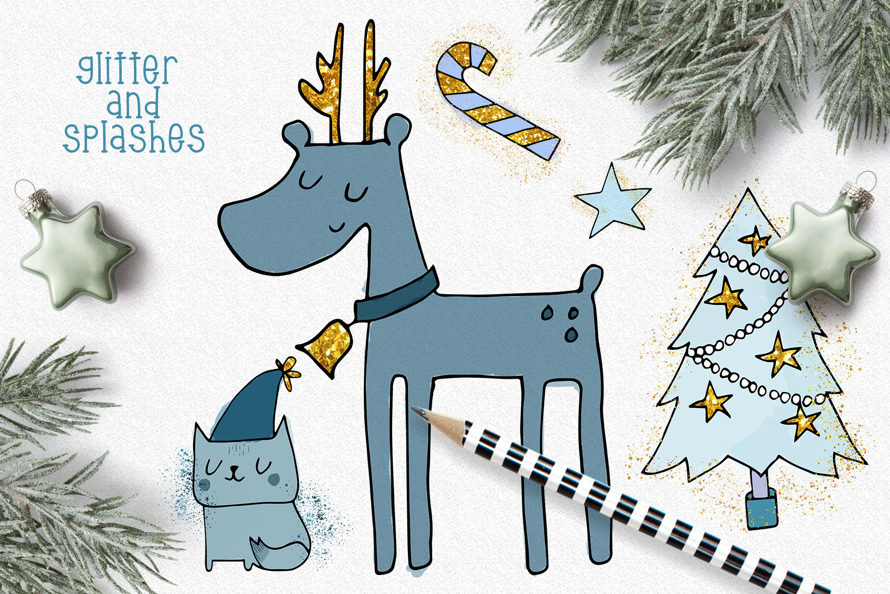 Christmas Clipart and Pattern Bundle example image 3