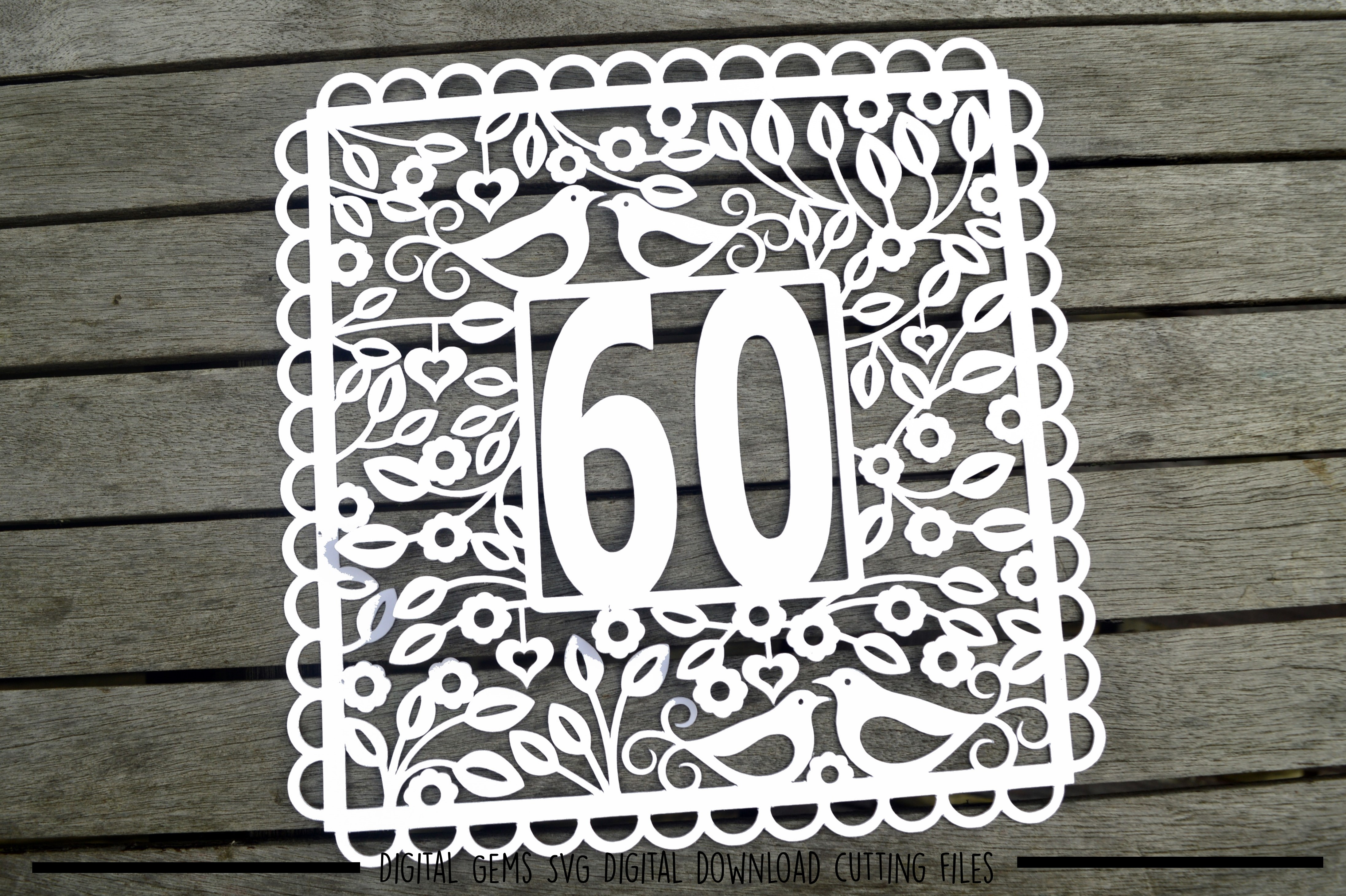 Number 60 paper cut SVG / DXF / EPS files example image 2