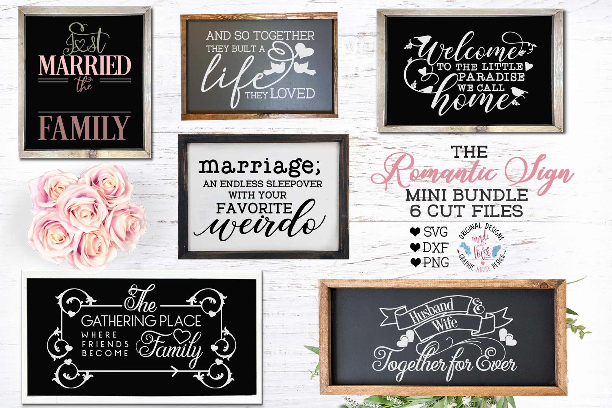 The Romantic Sign Cut Files Bundle example image 1